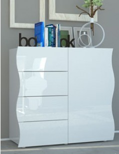 buffet blanc laqu design 1 porte et 4 tiroirs swell. Black Bedroom Furniture Sets. Home Design Ideas