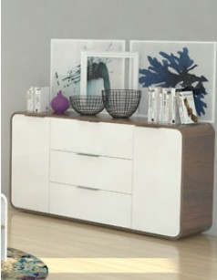 buffet blanc laqu et couleur bois fonc moderne hawai. Black Bedroom Furniture Sets. Home Design Ideas