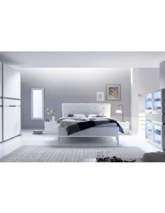 Chambre adulte design laqu blanc et chrom arla for Chambre adulte laque blanc