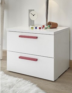 Chevet design blanc et rouge NATHEO 2