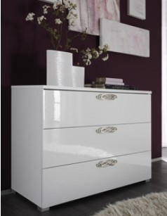 Commode adulte design laquée blanche INFINITY, 3 tiroirs