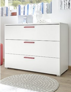 Commode blanche et rouge design NATHEO 2