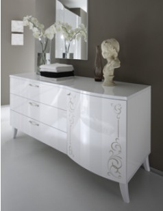 Commode adulte design laquée blanc brillant EMMA, 1 porte - 3 tiroirs