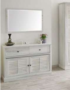 Commode contemporaine couleur bois blanc LANETTE