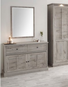 Commode contemporaine couleur chêne gris LANETTE 2