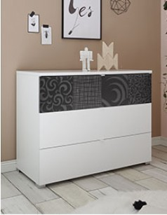 Commode design blanche et anthracite MILENA 2