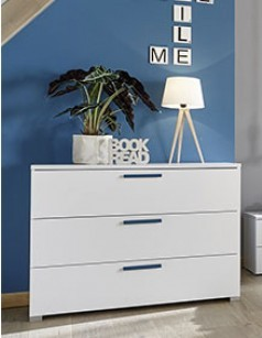 Commode blanche et bleue design NATHEO 3