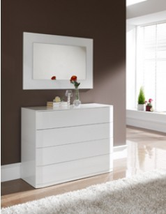 commode adulte design laqu e blanche tacito 4 tiroirs avec syst me push. Black Bedroom Furniture Sets. Home Design Ideas