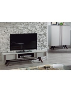 ensemble tv scandinave gris laqu et marron otra 2. Black Bedroom Furniture Sets. Home Design Ideas
