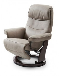 Fauteuil relax manuel pivotant taupe en tissu MADI