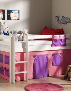habillage de lit sur lev ludik d cor girly. Black Bedroom Furniture Sets. Home Design Ideas