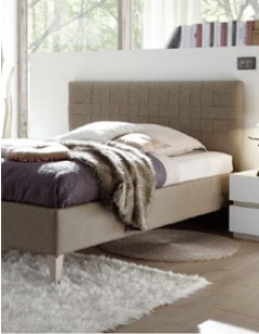 Lit adulte design beige en PU avec option coffre MENO 2