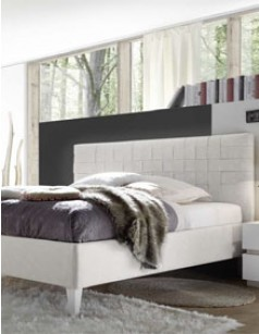 Lit adulte design blanc en PU avec option coffre MENO