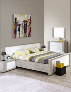lit adulte moderne blanc laqu et couleur bois gris florine. Black Bedroom Furniture Sets. Home Design Ideas