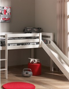 lit enfant sur lev avec toboggan en pin massif blanc ou gris fonc enzo. Black Bedroom Furniture Sets. Home Design Ideas