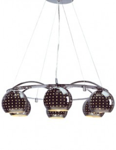 Luminaire suspension design coloris chrome poli CLARO, 6 lampes