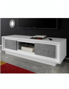 meuble tv blanc laqu mat et b ton design maryland. Black Bedroom Furniture Sets. Home Design Ideas
