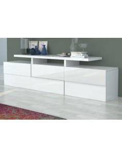 Meuble TV blanc laqué design BETTY