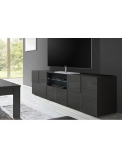 grand meuble tv design gris laqu atmore 2. Black Bedroom Furniture Sets. Home Design Ideas