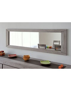 Grand miroir horizontal en ch ne massif couleur gris ziggy for Miroir horizontal blanc