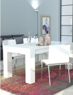 Table à manger extensible blanc laqué design BETTY