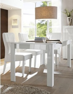 Table manger extensible blanc laqu design cabera for Table salle a manger beton cire