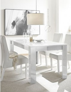 table extensible design blanche laque elda