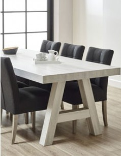 Table à manger contemporaine couleur bois blanc LANETTE 3