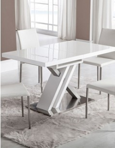 Table de salle manger rectangulaire design avec rallonge bernie laqu e blanche for Table laque 8 places