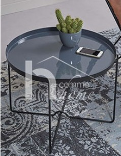 Table d'appoint ronde design grise FLORANE