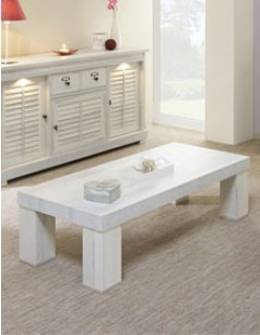 Table basse contemporaine couleur bois blanc LANETTE