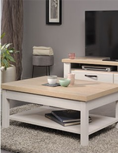 Table basse contemporaine couleur bois blanc AMBROISE