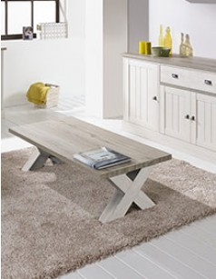Table basse contemporaine couleur chêne blanc JEANNE