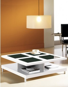 Table basse carrée contemporaine EMMY, 2 plateaux, coloris blanc brillant