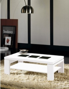 Table basse rectangulaire contemporaine PONTI, coloris blanc brillant + verre noir