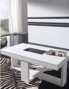 Table basse relevable design EDWARD, laquée blanche