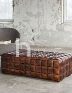 Table basse design en cuir marron MUSTANG