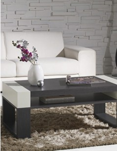 Table basse relevable contemporaine ALICHA, coloris cèdre et laqué blanc