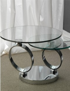 Table basse en verre pour int rieur design - Table de salon ronde en verre ...