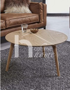Table basse ronde scandinave couleur chêne clair ANTON
