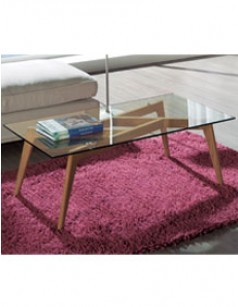 Table basse design verre bois