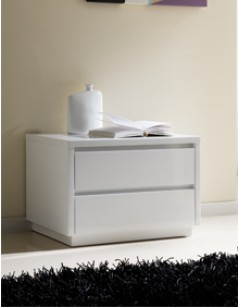 Chevet adulte design laqu blanc tobia 2 tiroirs - Table chevet blanc laque ...