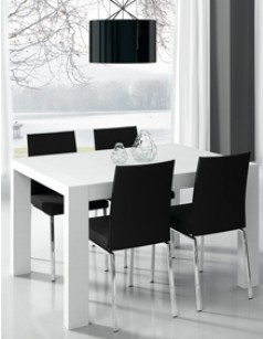 Table de salle à manger rectangulaire contemporaine KENZO, coloris blanc