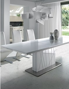 table a manger extensible blanc laqué zag - hcommehome