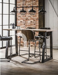 Table de bar industrielle en bois et en inox noir OMAHA