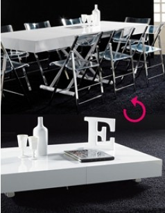Table basse relevable - transformable design LUCINDA, coloris blanc laqué high gloss