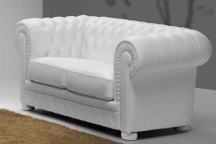 Canapé chesterfield 2 places 100% cuir BRIGHTON