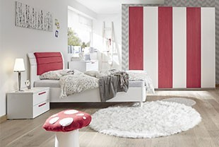 Chambre ado design rouge et blanche NATHEO 2
