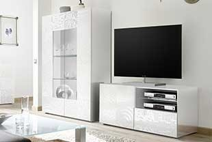 Ensemble meuble TV design blanc ELDA