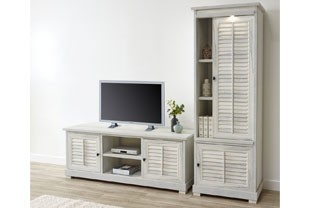 Ensemble TV contemporain couleur bois blanc LANETTE